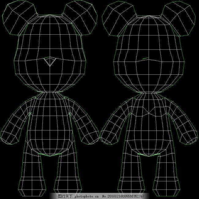 3dmax 3d素材 网格线 小熊 小熊 网格线 3d素材 3dmax 矢量图 其他