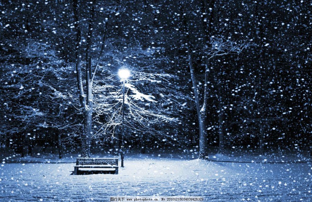 冬季雪夜图片_自然风景_自然景观_图行天下图库