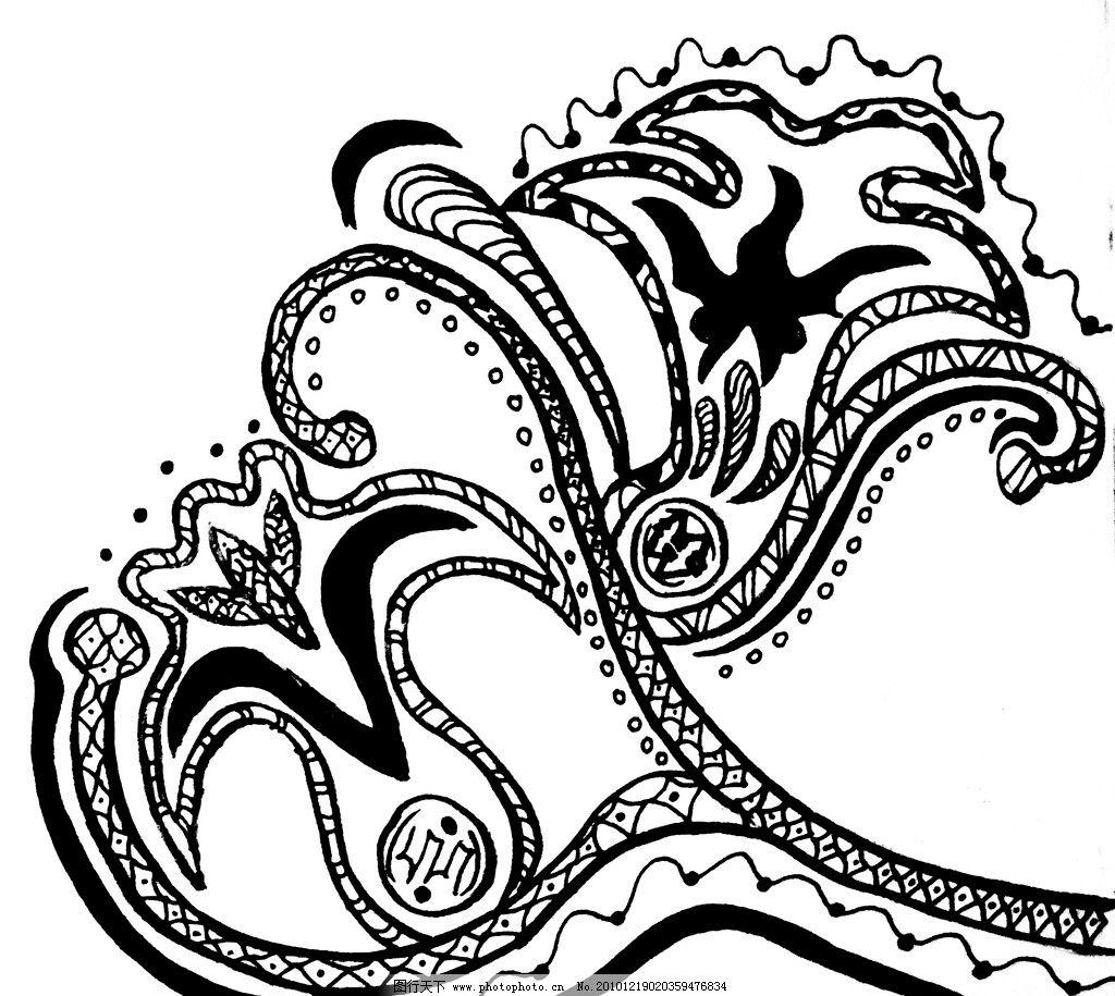 花纹 抽象 黑白装饰画 花边花纹 底纹边框 设计 72dpi jpg