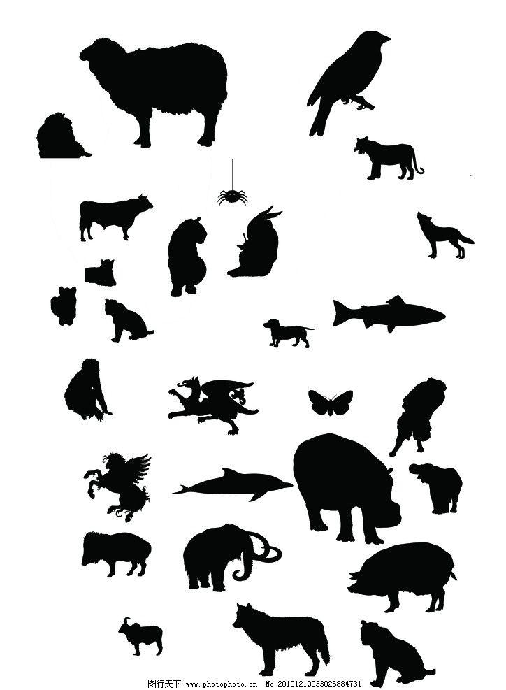 野生动物 动物矢量 高清 剪影 动物剪影 猩猩 河马 鳄鱼 鸟