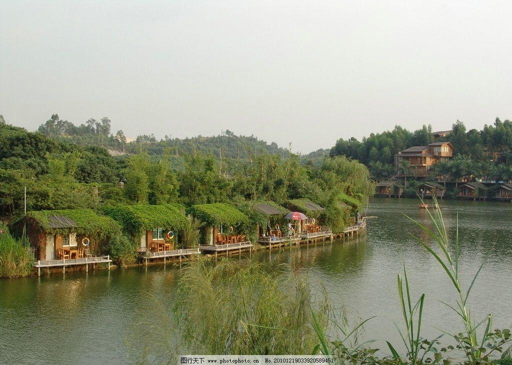 湖边 湖边小屋 绿草 绿茵 别墅 木屋 水上世界 国内旅游 旅游摄影