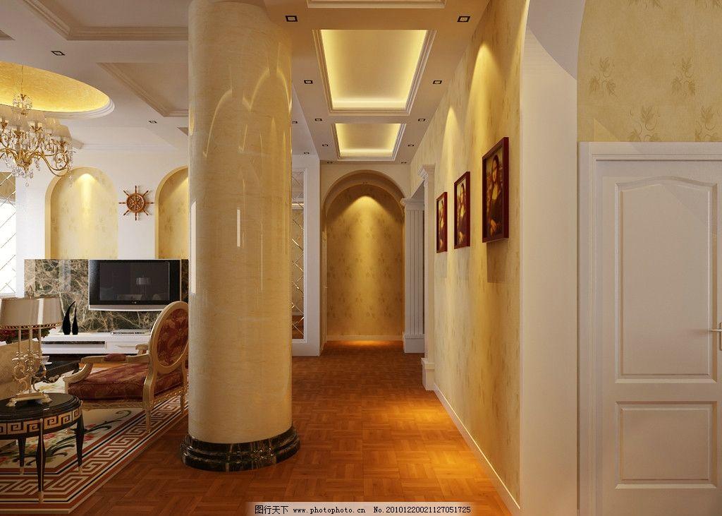 别墅走廊效果图 吊顶 壁纸 柱子 仿古砖 挂画 白色门 电视背景墙