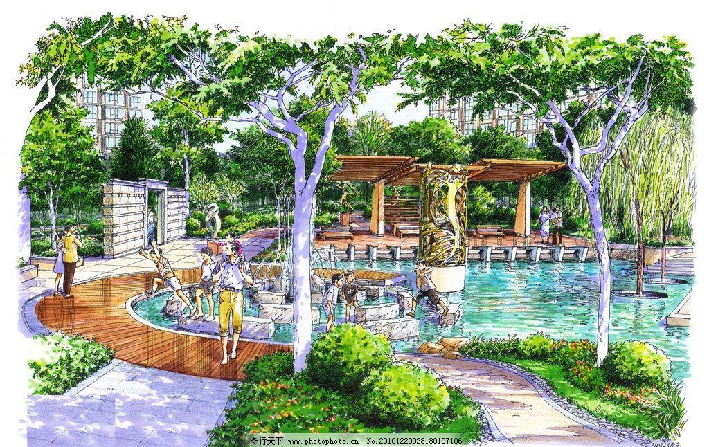 手绘效果图 喷泉 小区景观 环境 室外效果图 室外设计 建筑