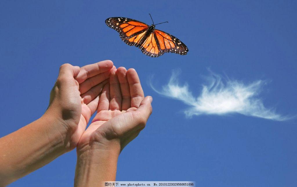 放飞蝴蝶 爱护自然 蓝天 白云 人物手势云彩 大自然 高清 摄影 300dpi