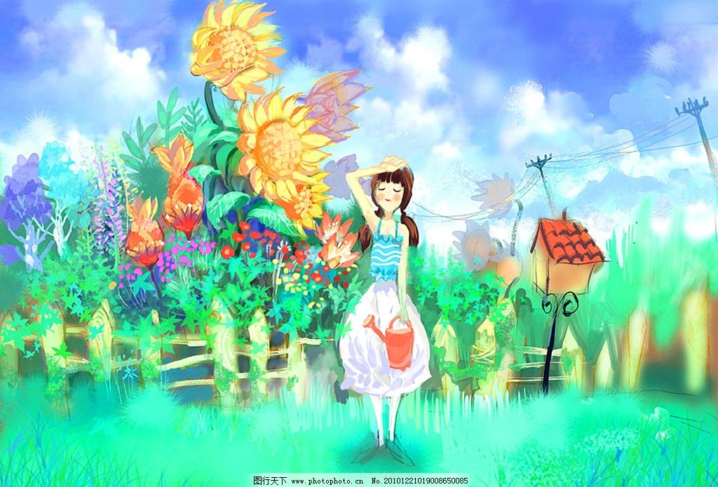 手绘女孩和向日葵