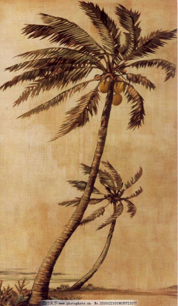 手绘画 装饰画 椰树 画芯 大海 风景 沙滩 绘画书法 文化艺术 设计 60
