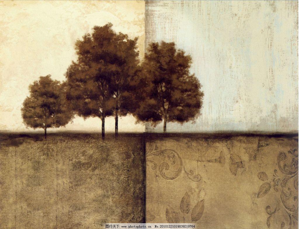 手绘画 装饰画 大树图片