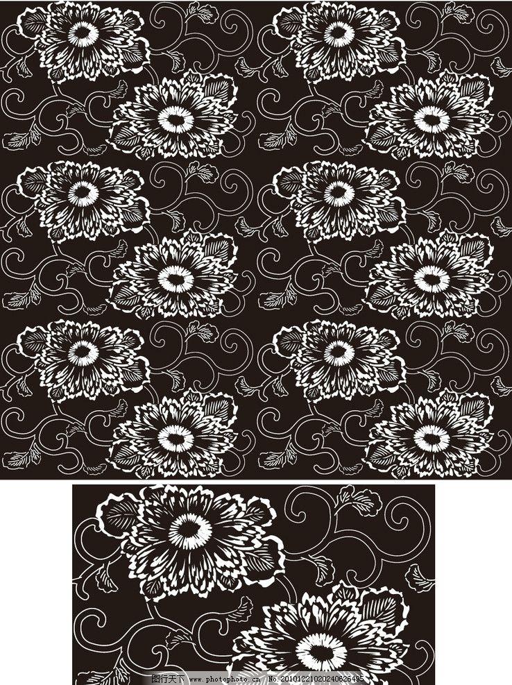 黑白无缝古典花纹花边图片