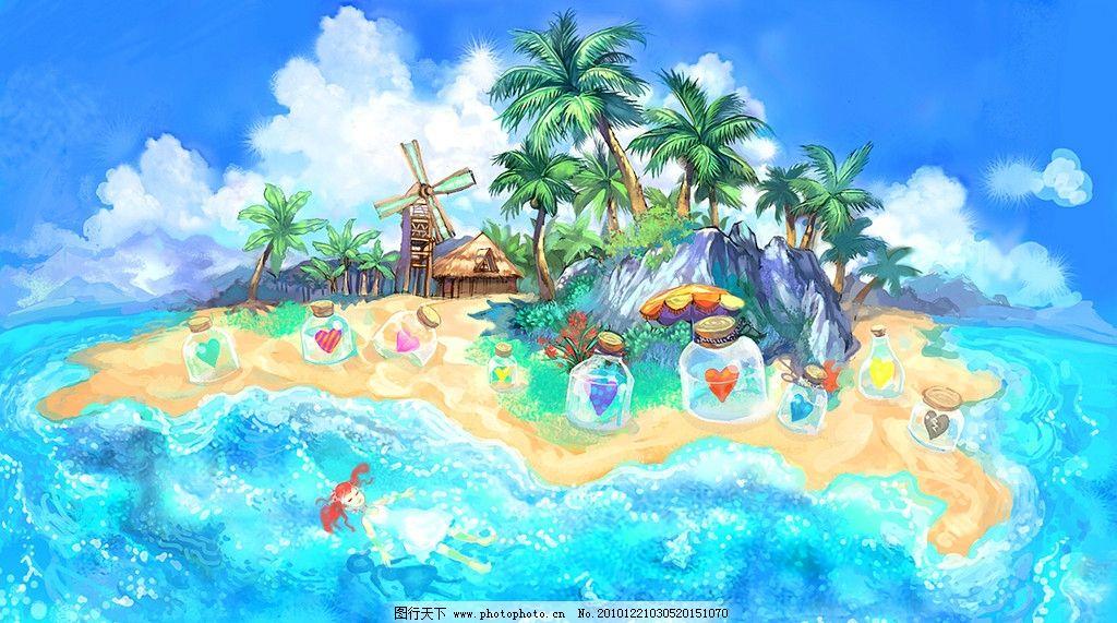 漂流瓶 手绘 夏日 清风 油画 装饰画 无框画 女孩 岛屿 童话 绘本