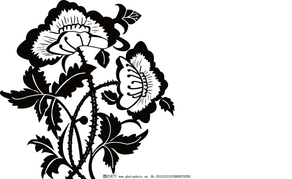 花卉变形均衡式 花卉变形 均衡式 黑白 矢量素材 其他矢量 矢量 ai
