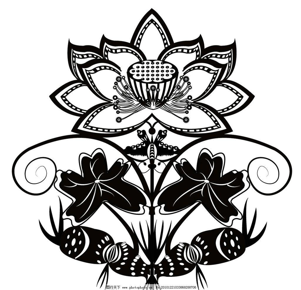 花卉变形对称式 花卉变形 对称式 黑白 矢量素材 其他矢量 矢量 ai