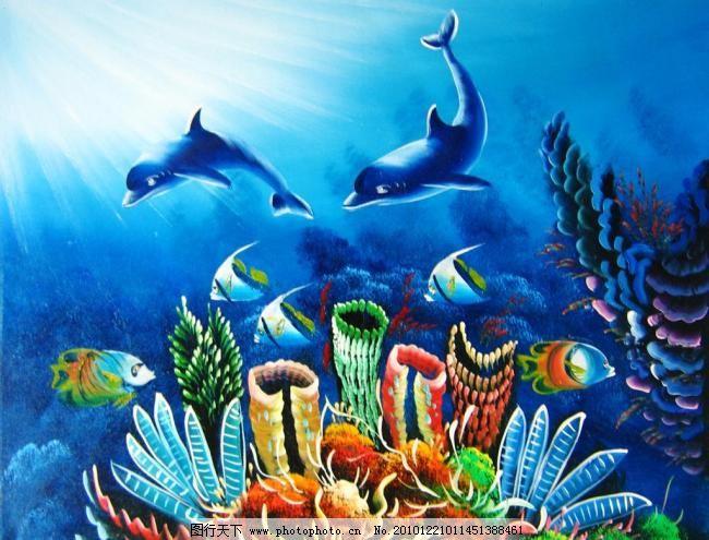 漂亮的手绘动物海豚油画图片