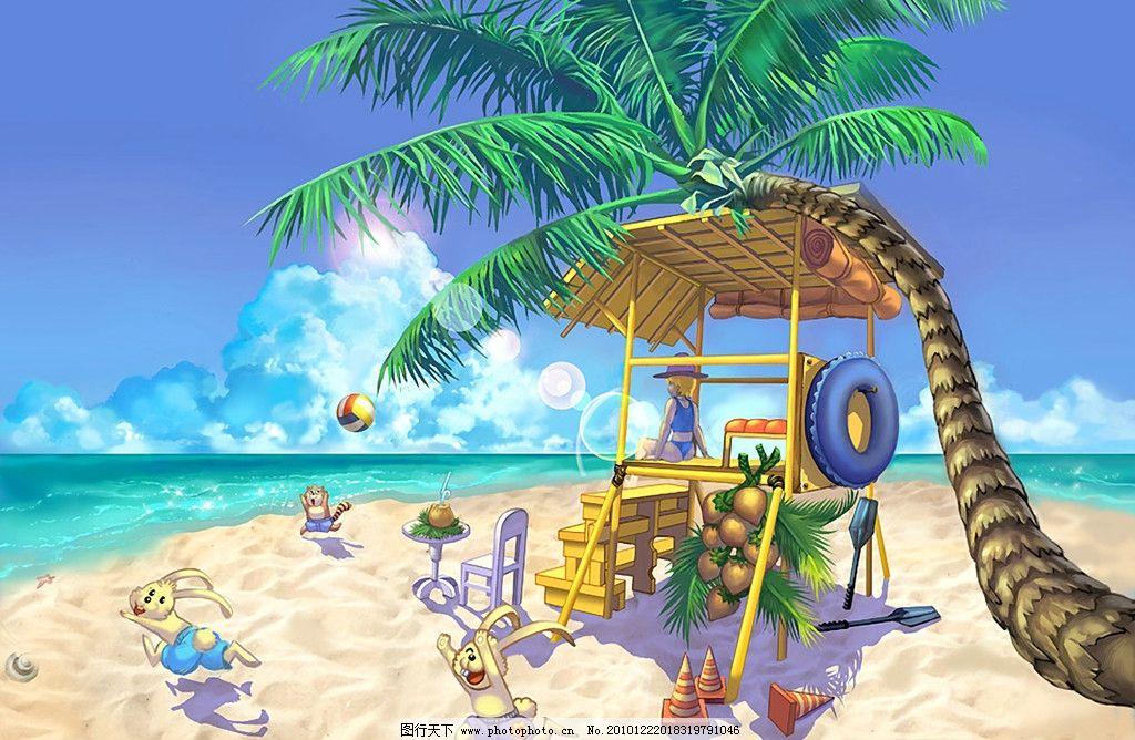手绘 夏日海滩图片
