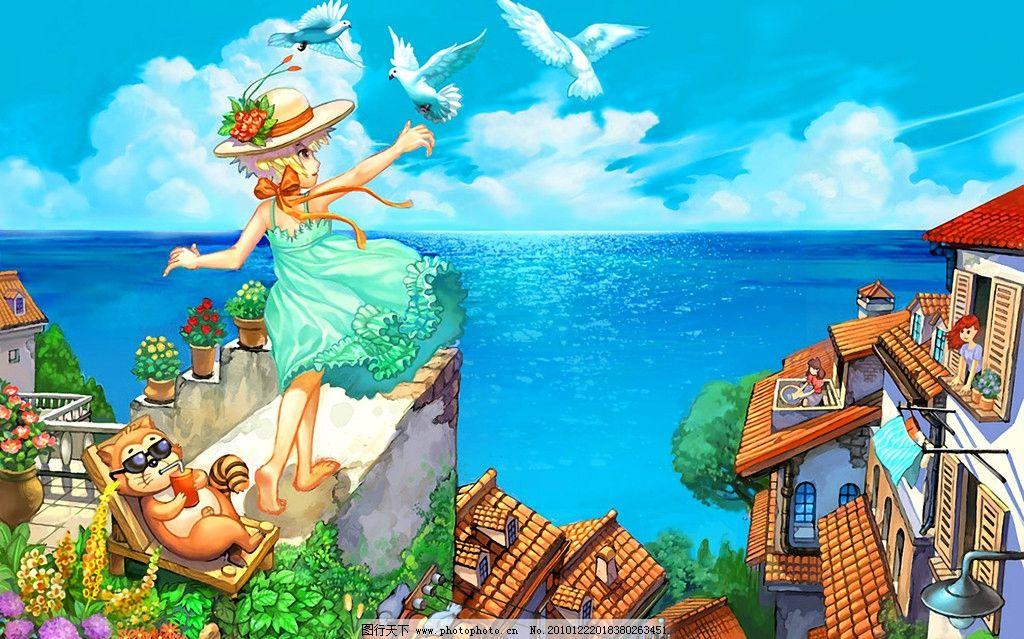 手绘 假日海边 花季 女孩 卡通 可爱 装饰画 无框画 绘本 八月 夏天