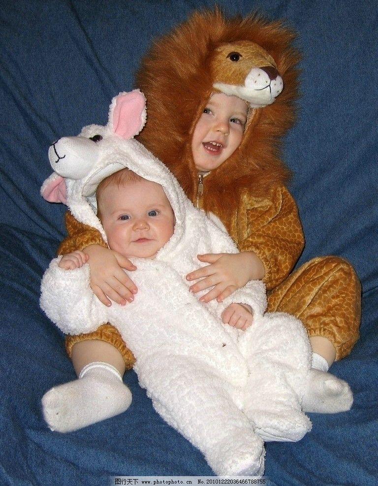 可爱动物套装孩子图片_人物摄影_人物图库_图行天下