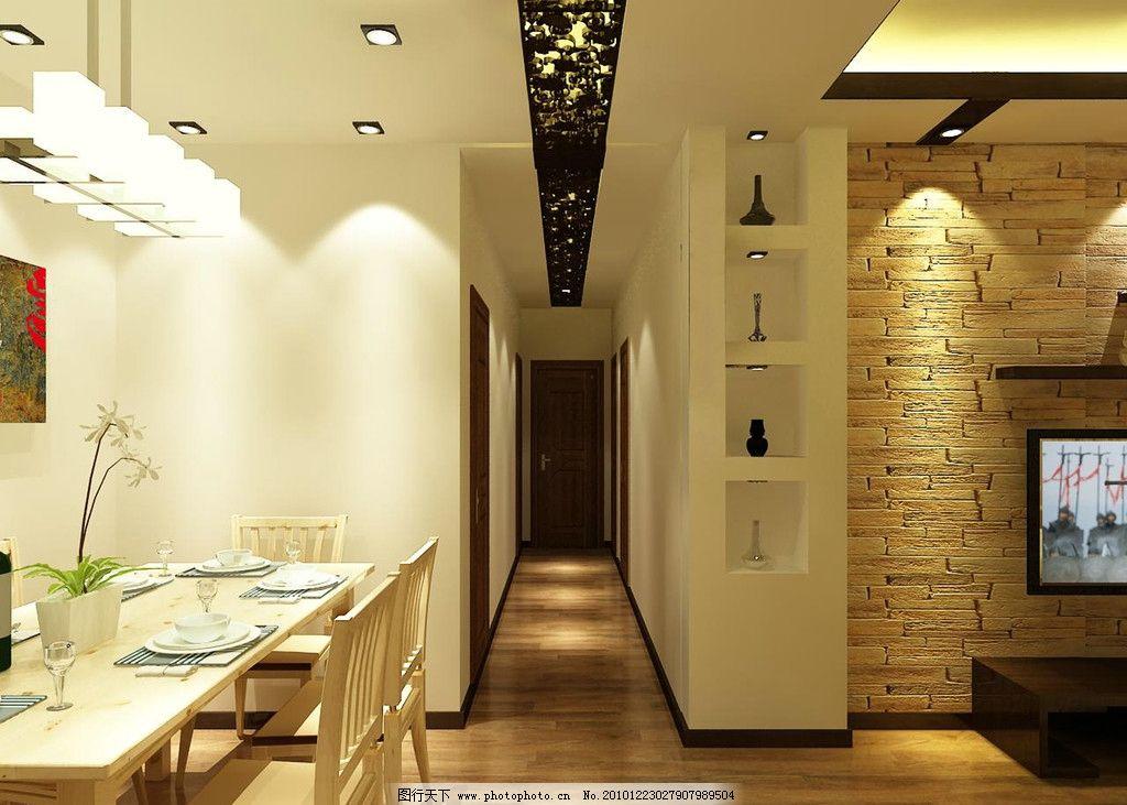 过道效果图 新中式室内设计