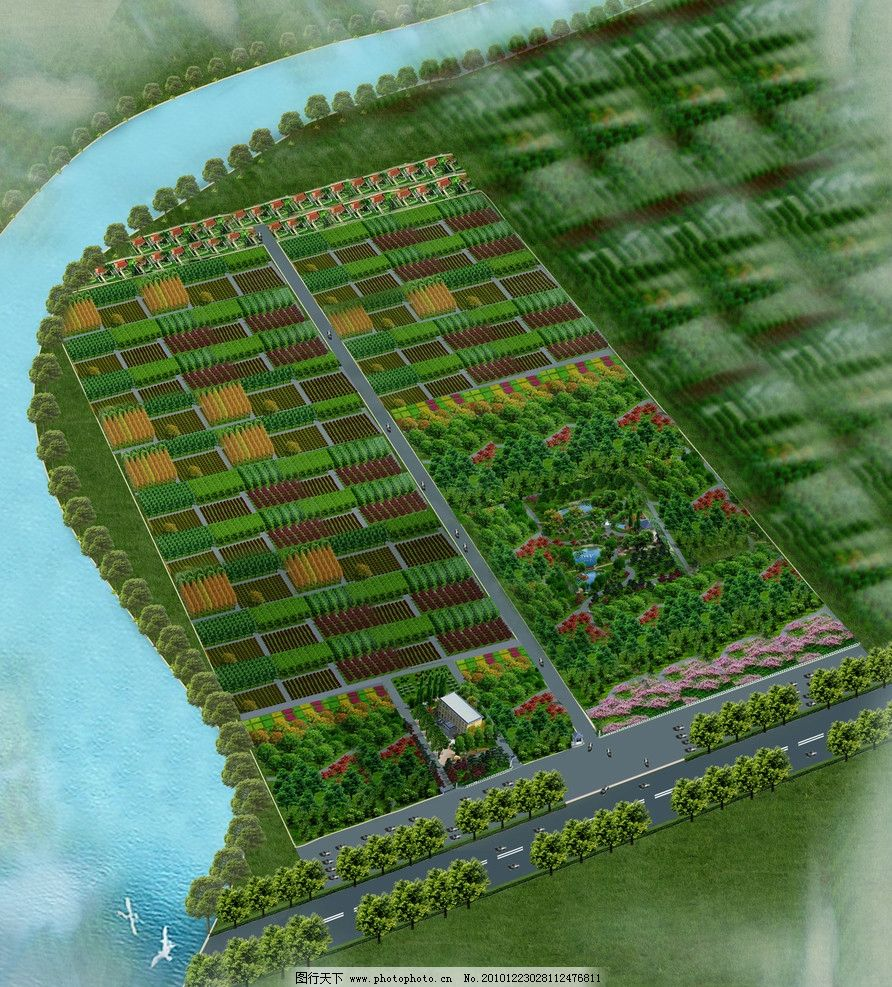 景区鸟瞰图 植物 绿化 鸟瞰图 景观设计 环境设计 设计 72dpi jpg