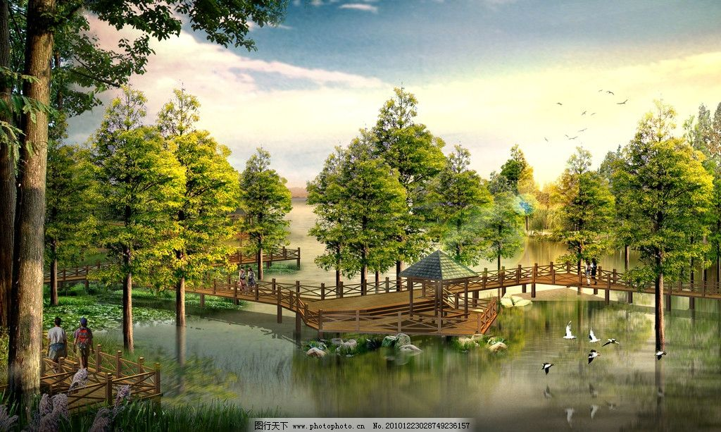 风景园林分_园林风景效果图设计图片