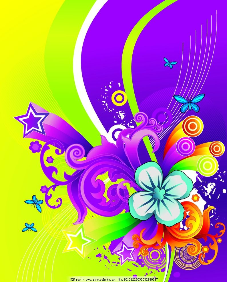 绿色加紫色背景花纹图片