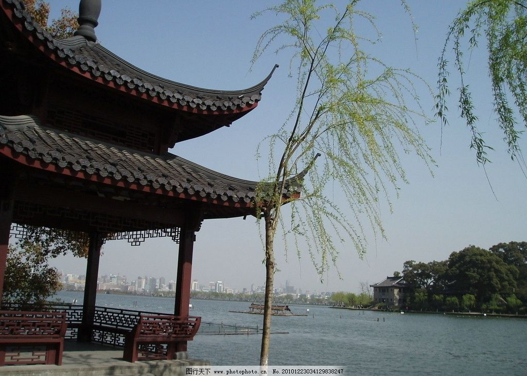 杭州西湖 杭州 西湖 春天 春色 宜人 美景 绿色 山水 远眺 世界文化
