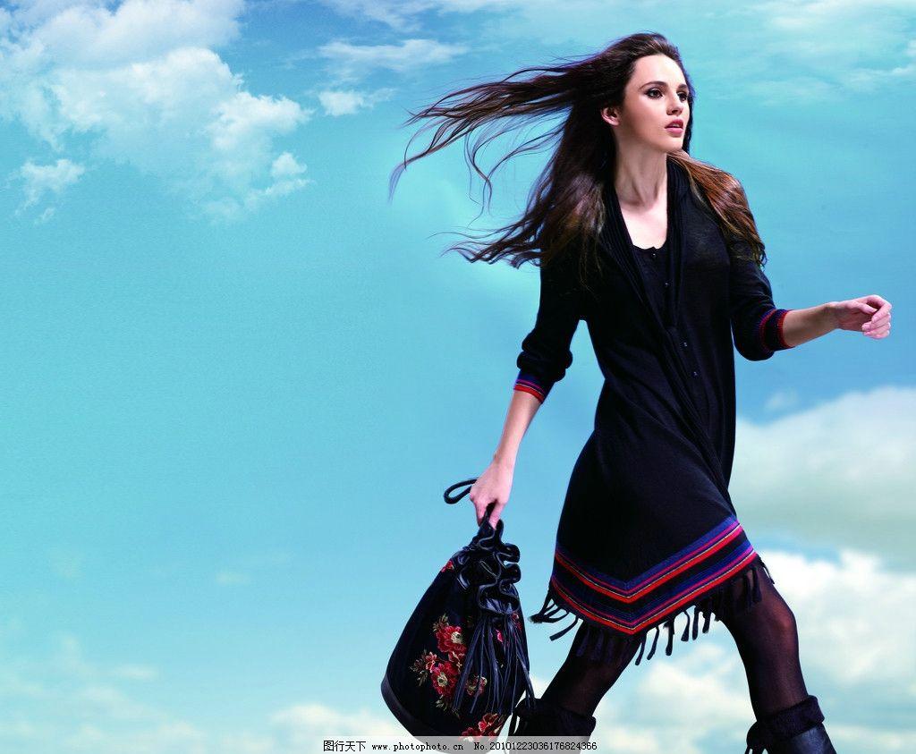 高清模特 蓝天白云 藏式 服装模特 草地 草原 商场模特 皮靴