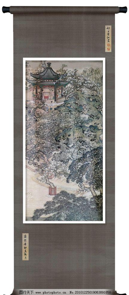 邗上袁江古画 国画 工笔画 古典绘画 亭子 古树 室内装饰 中国古画 绘
