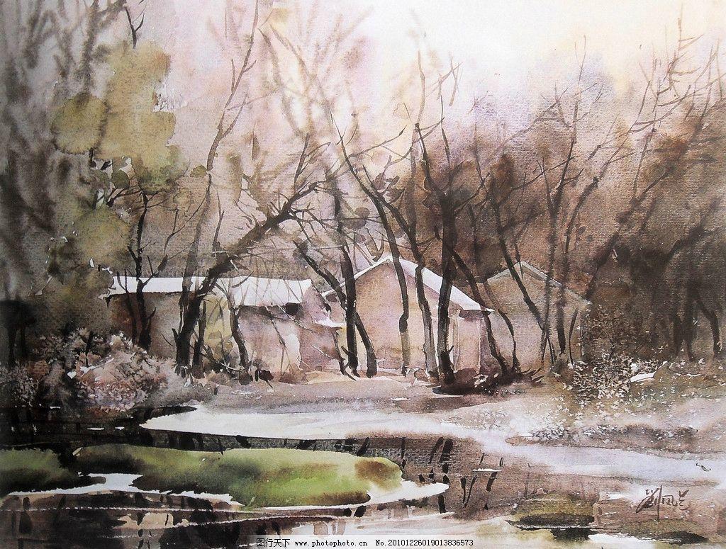 水彩画 水彩 风景 水彩风景画 湖面 水面 湖 冬天 雪景 雪地 树木 老
