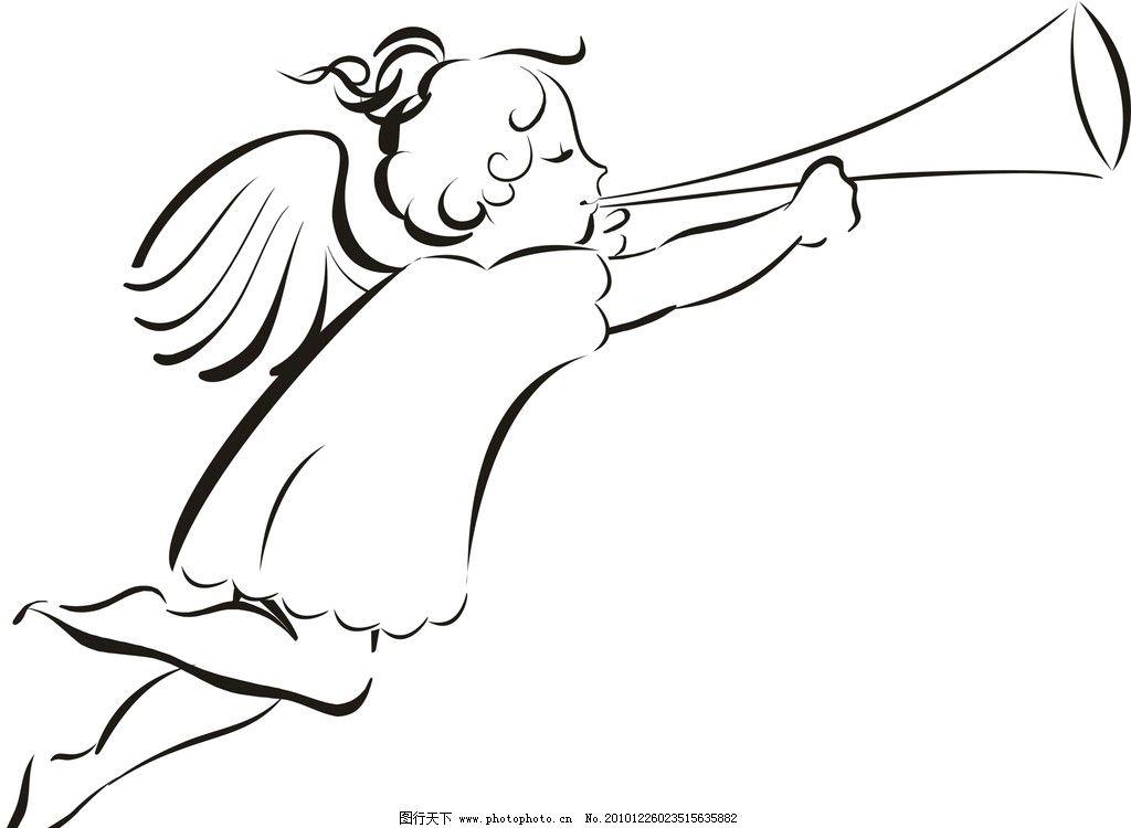 可爱小天使 女生 女孩 天使 可爱 喇叭 儿童幼儿 矢量人物 矢量 cdr