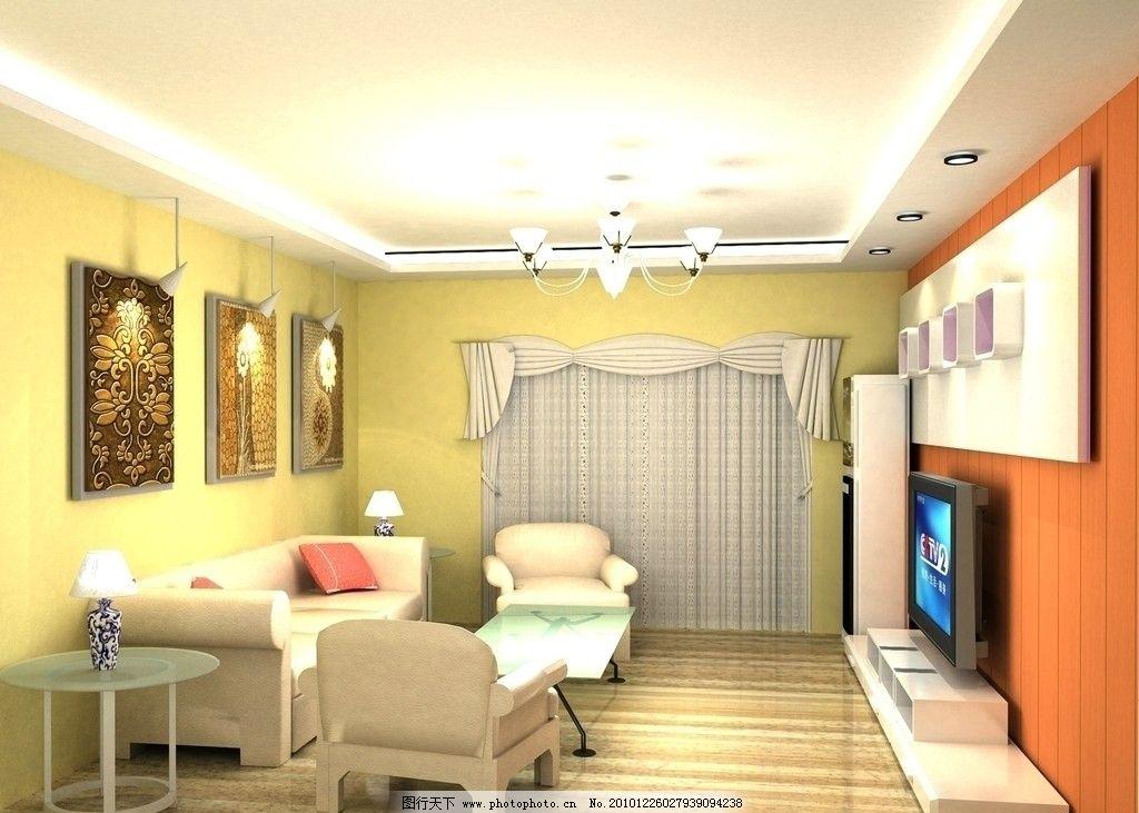 客厅效果图 欧式 现代 简约 家居设计 电视机背景墙 沙发背景墙