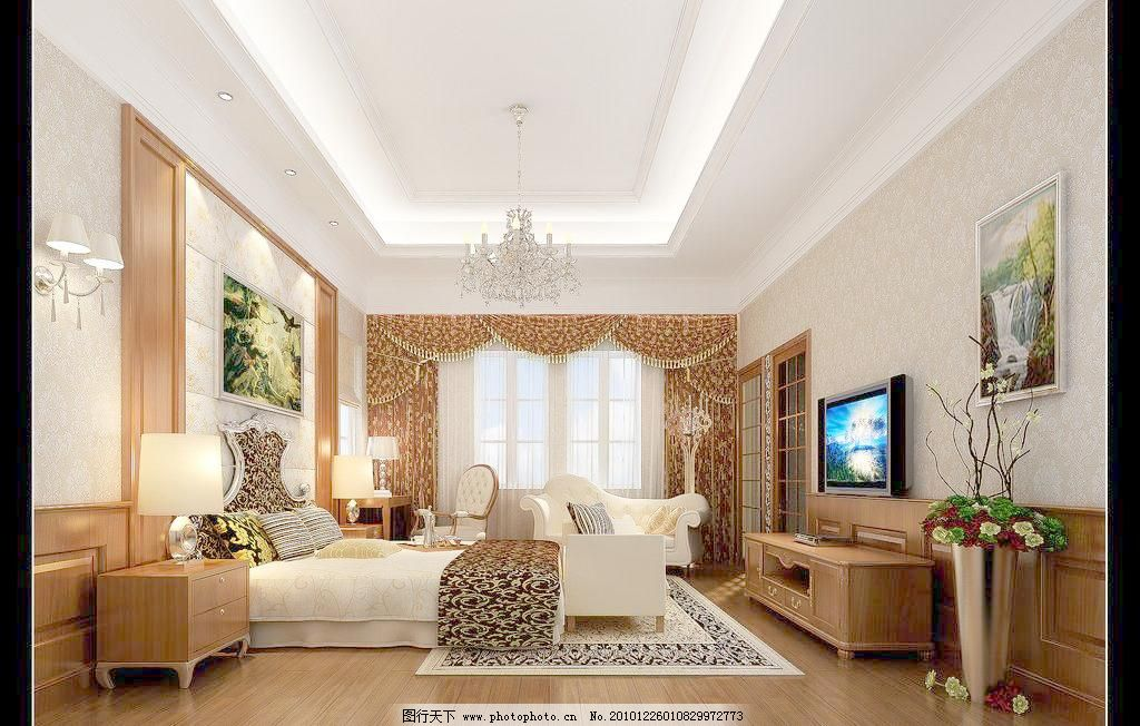欧式卧室效果图 床 电视 电视柜 吊灯 挂画 欧式卧室效果图设计素材