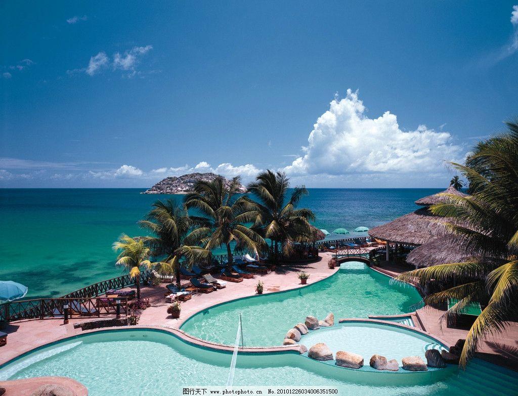 海边景点 风景 游泳池 旅游景点 露天泳池 休息台 大海 椰树