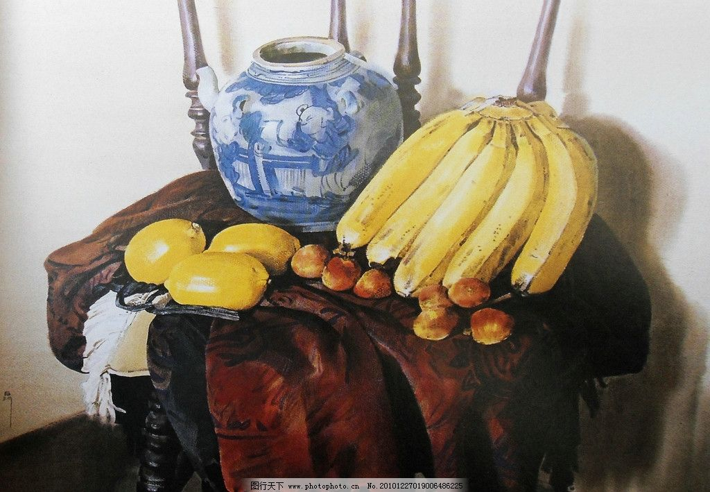 水彩画 水彩 静物 水彩静物 椅子 罐子 瓷罐 青花瓷罐 古朴 香蕉 绘画