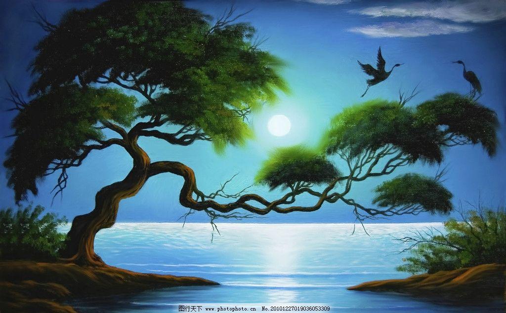 美景 油画 松鹤 松树 月亮 迎客松 飞鸟 光影 水面 湖水 倒影 夜晚 绘