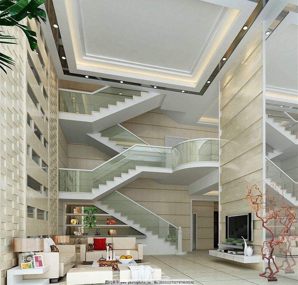 客廳效果圖 室內效果圖 休息間 吊燈 燈光 渲染 樓梯
