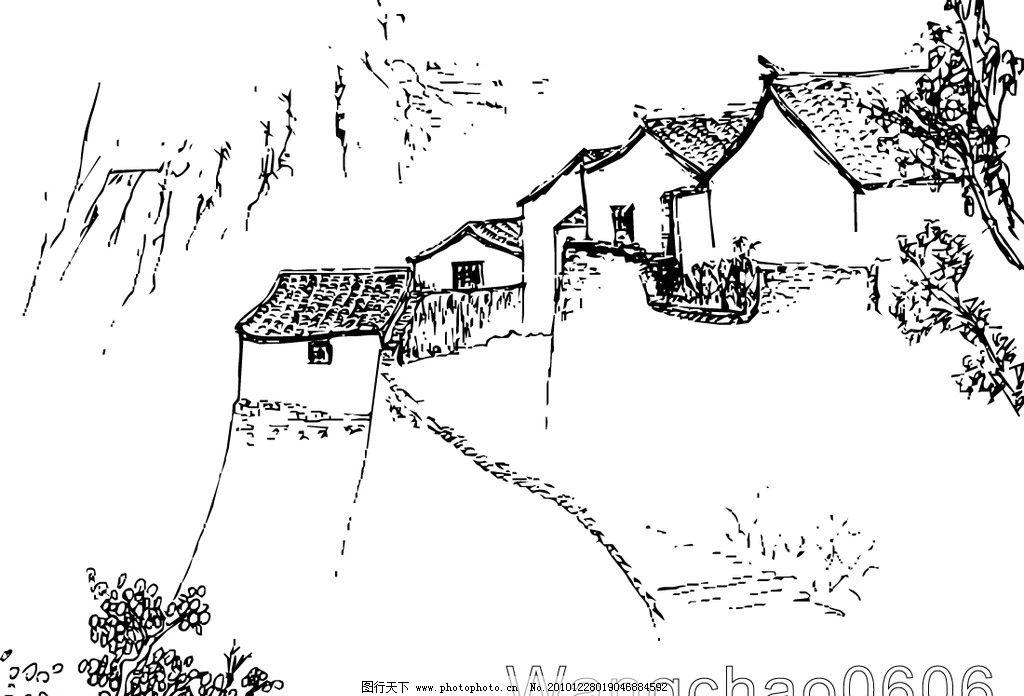 速写 矢量图 山村 山水画 风景 自然 美术绘画 文化艺术 矢量 ai