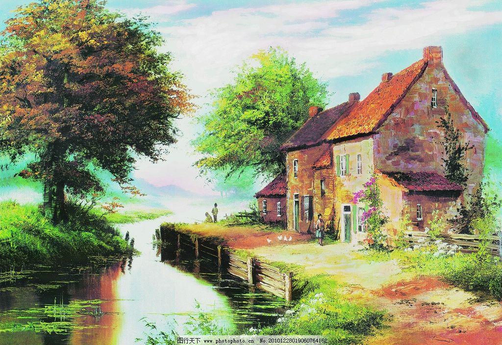 油画房子 油画 装饰画 无框画 风景 树木 别墅 河流 绘画书法 文化