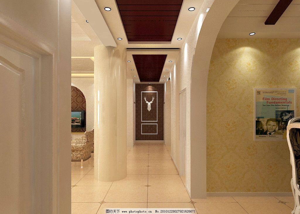 别墅走廊效果图 吊顶 地板砖 壁纸 端景墙 柱子 白色踢脚线 红木 简欧