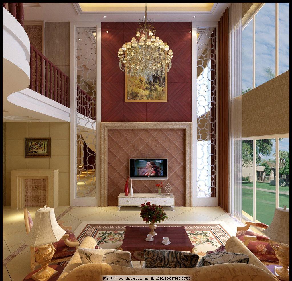 装修效果图 欧式装修 欧式客厅 欧式家装 电视 电视幕墙 沙发 洋房