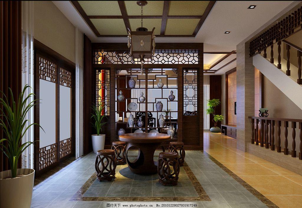 中式装修 室内装修效果图 中式客厅 大厅 家居 室内设计 环境设计