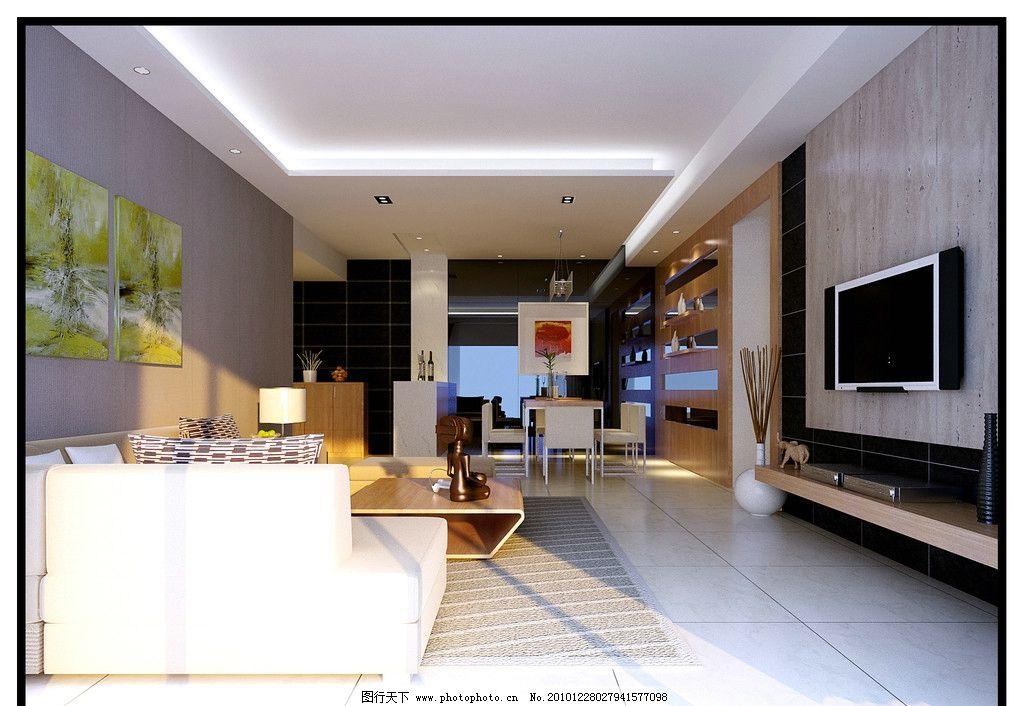 现代装修效果图 现代客厅 电视幕墙 大厅 家装 家居装修