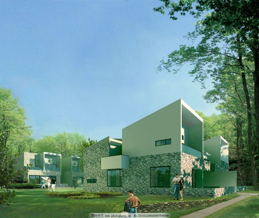 建筑效果图 ps效果图 透视 住宅 别墅 日景 建筑设计 环境设计 设计