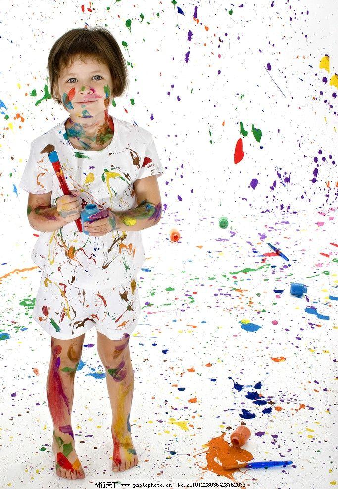 儿童高清 小孩 快乐 顽皮 可爱 调皮 七彩 色彩 油漆 涂料