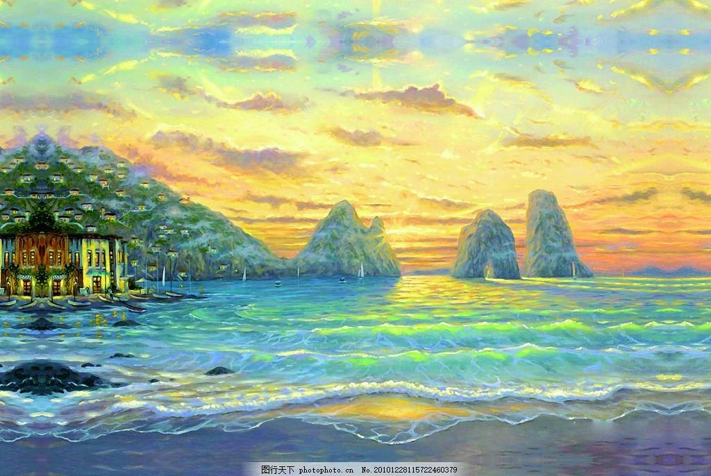 地中海风格海边日出 油画 日出 地中海 印象画 海边 海浪 金色 蓝色