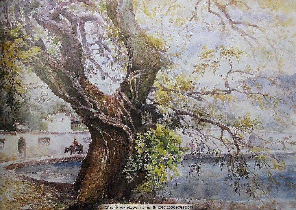 水彩画 风景 水彩风景画 湖 湖面 水面 大树 牛 民居 老房子