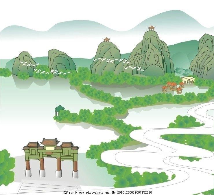 国画山水 中国画 山水 亭子 美术绘画 文化艺术 矢量 cdr