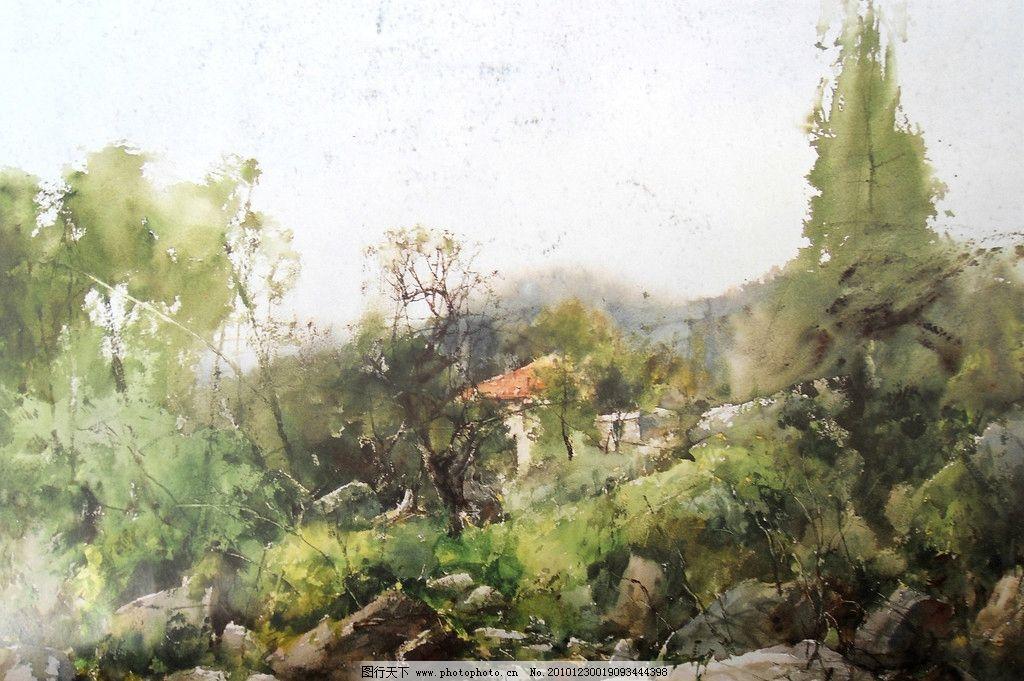 水彩畫 水彩 風景 水彩風景畫 樹木 石頭 房子 紅房子 繪畫書法 文化