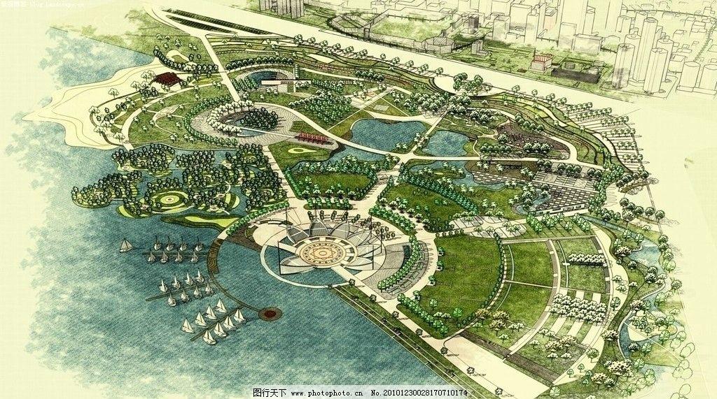 滨水广场鸟瞰图 景观 手绘