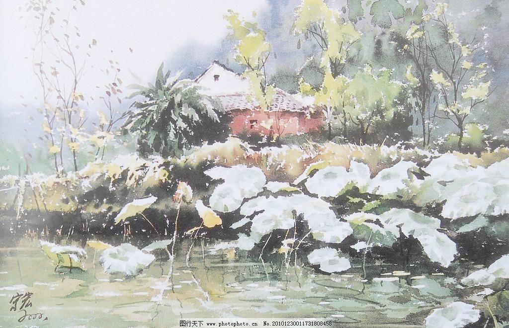 水彩画图片_山水风景画