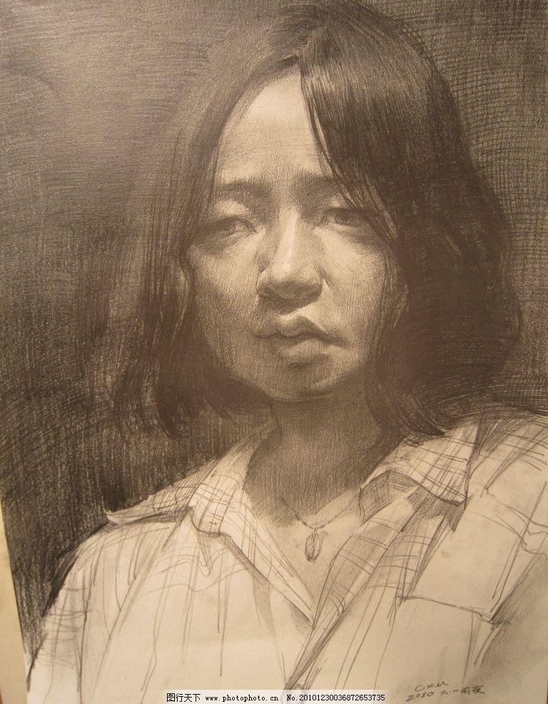 素描头像 素描      女孩 女性女人 人物图库 摄影 180dpi jpg