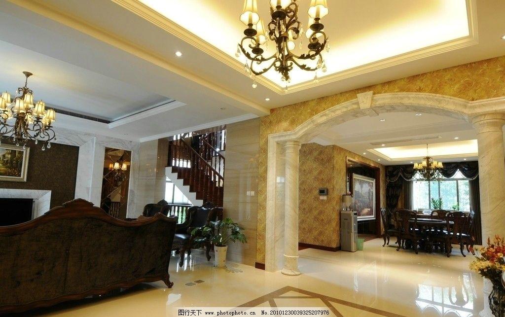 门厅 欧式 爵士白 拼花      楼梯 餐桌 沙发 吊灯 别墅 高档 室内